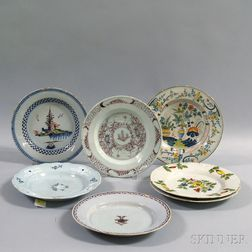 Seven Polychrome Tin-glazed Plates