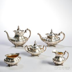 Five-piece Reed & Barton Hampton Court   Pattern Sterling Silver Tea and   and Coffee Service