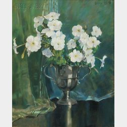 Laura Coombs Hills (American, 1850-1952)      White Petunias in a Footed Silver Cup