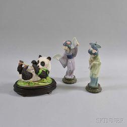 Two Lladro Ceramic Geisha Figures and a Boehm Panda