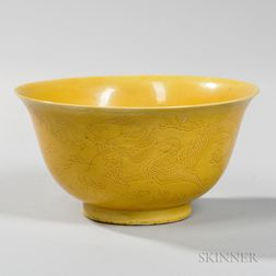 "Yellow-glazed ""Dragon"" Bowl"
