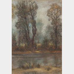 Harold Harrington Betts (American, 1881-1951)    River Landscape with Trees