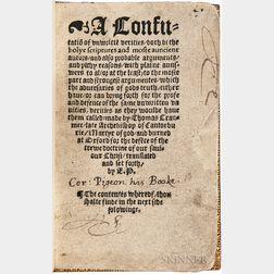 Cranmer, Thomas (1489-1556) A Confutatio[n] of Unwritte[n] Verities.