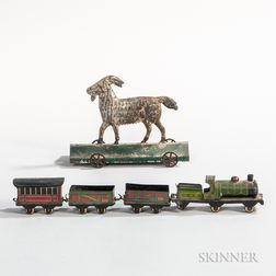 Miniature Lithographed Tin Toy Train and Tin Billy Goat Pull Toy
