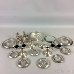 Group of Weighted Sterling Silver and Glass Tableware