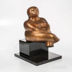 Yuri Krasny (Russian/American, 1925-2005) Seated Figure   Bronze Sculpture on Stone Plinth