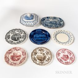 Eight Staffordshire Transfer-decorated Table Items