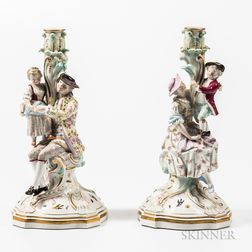 Pair of Meissen Porcelain Figural Candlesticks