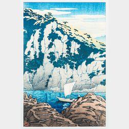 Kawase Hasui (1883-1957), Horai Rock, Kiso River