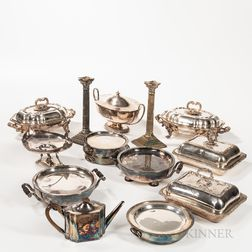Approximately Fourteen Pieces of Silver-plated Serving Ware