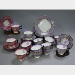 Forty-six Piece Assembled Royal Doulton Art Deco Plum and Pink Striped Porcelain Partial Tea Set.