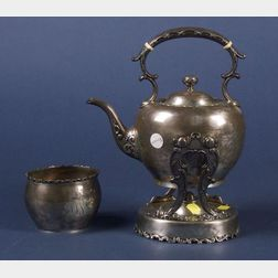 Whiting Manufacturing Co. Sterling Kettle on Stand and Open Sugar Bowl