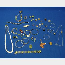 Group of Gold, Gold-filled, and Hardstone Jewelry