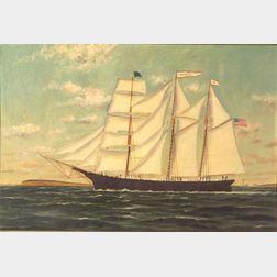 Attributed to Solon Francis Monticello Badger (American, 1873-1919)    Portrait of the American Barkentine HANCOCK.