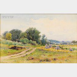 Frederick Dickinson Williams  (American, 1829-1915)      Grain Stacks / A Newton, Massachusetts, Landscape