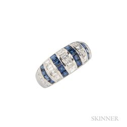 18kt White Gold, Diamond, and Sapphire Ring