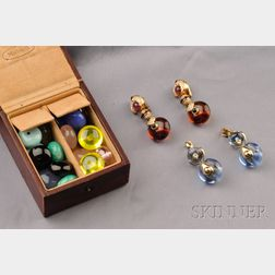 18kt Gold, Diamond and Gem-set Interchangeable Earpendant Suite, Marina B.