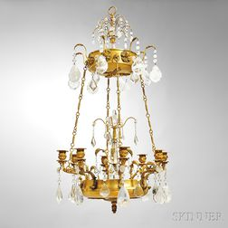 Louis XVI-style Gilt-bronze and Rock Crystal Eight-light Chandelier