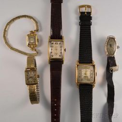 Five 14kt Gold Manual-wind Lady's Wristwatches