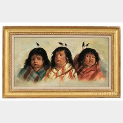 Peterson, C., (fl. circa 1890) Three of a Kind  , Native American Indian Girls Depicted as Cherubs, Oil on Canvas, c. 1890.