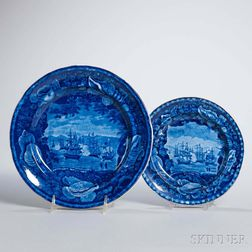 Two Staffordshire Historical Blue Transfer-decorated Commodore Macdonnough's Victory Plates