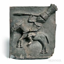 Edo-style Cast Metal Equestrian Plaque