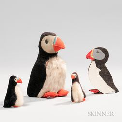 Three Stuffed Puffins and a Puffin Needlecase
