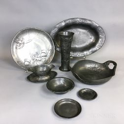 Eight Kayserzinn Floral-decorated Pewter Tableware Items