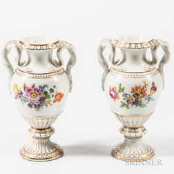 Pair of Meissen Porcelain Snake-handled Vases