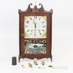 Chauncey Ives Reverse-painted Mahogany Veneer Pillar and Scroll Shelf Clock