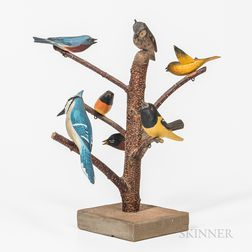 "Carved and Painted ""Bird Tree,"""