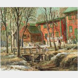Henry Orne Rider (American, b. 1860)  Where the Mill Workers Dwell   or The Rescue  / Newton Lower Falls, Massachusetts