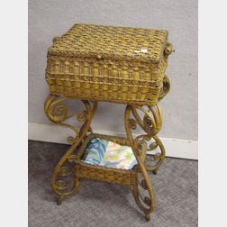 Heywood-Wakefield Victorian Natural Fancy Woven Wicker Sewing Stand.