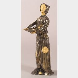 Continental Silver-clad and Carved Ivory Figure of St. Lucy