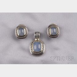 Sterling Silver, 14kt Gold, and Blue Chalcedony Earclips and Pendant, David Yurman