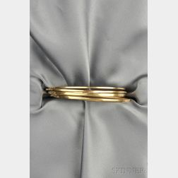 Five 14kt Gold Bangle Bracelets