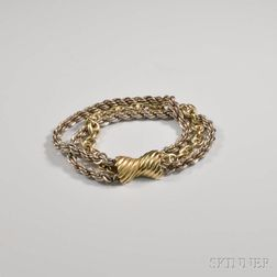 14kt Gold and Sterling Silver Triple-strand Bracelet