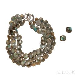 Sterling Silver and Labradorite Necklace and Earrings, Tambetti