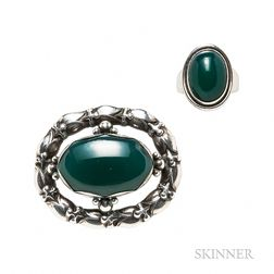 Georg Jensen Sterling Silver and Green Onyx Brooch and Ring