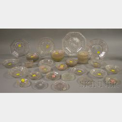 Approximately Fifty-five Pieces of Colorless Pressed Lacy Pattern Glass