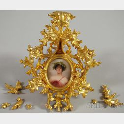Small Painted Porcelain Medallion of Grace in Elaborate Gilt-gesso Frame
