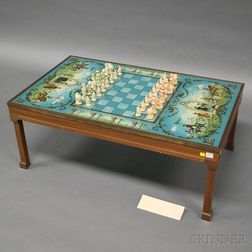 British Reverse-painted Glass Chess Table