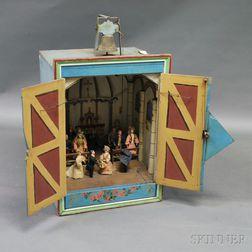 Early Automaton Mechanical Diorama Carnival Game with Original Jumeau Dolls
