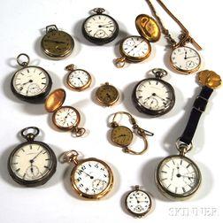 Fourteen American Pocket Watches