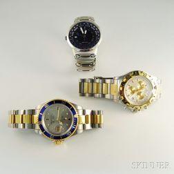 Three Stainless Steel Gentleman's Wristwatches