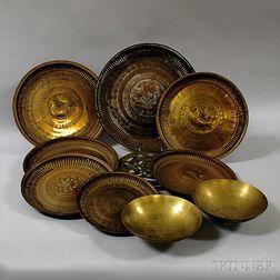 Ten Decorative Asian Brass Items