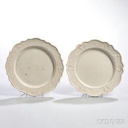 Two Staffordshire White Salt Glazed Stoneware King of Prussia Plates