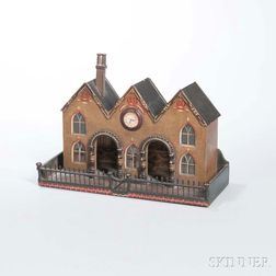 Paint-decorated Model of a Gothic Revival Station Building