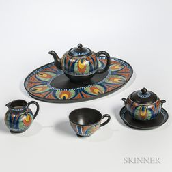 Gouda Pottery Five-piece Dorian   Tea Set