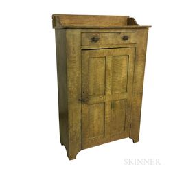 Country Mustard-painted Pine Cupboard